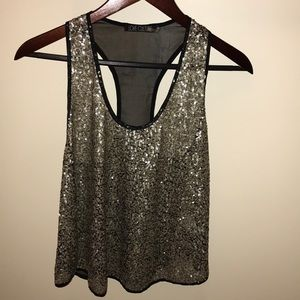 Love Culture Size M Gold Sequin Swing Tank Top